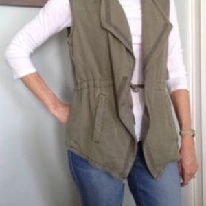 Safari Vintage Army Green Drape Vest With Pockets